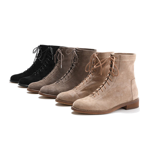 2019 new autumn and winter round head retro British style boots middle tube European and American stretch thick heel women boots Martin boots