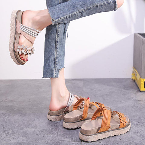 Sweet Solid Color Flower Hollow Suede Open Toe Cross Platform Sandals