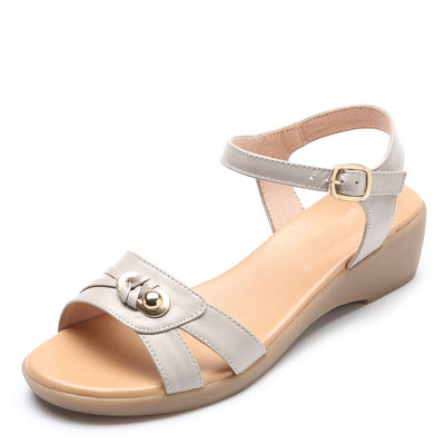 Summer 2020 new mid-heeled comfortable soft flat sole women's leather sandals