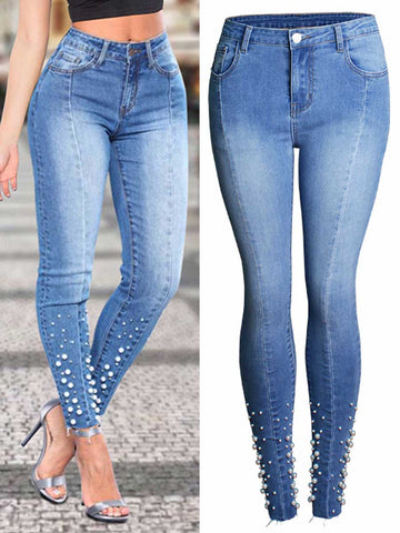 Beads Patchwork Pocket Slim High-Waist Plus Size Cotton Jeans