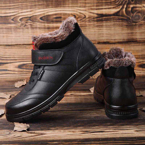 2019 winter new genuine leather plus velvet warm and cold-proof middle-aged and elderly cotton boots