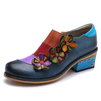 Color Block 3D Flower Round Toe Slip-On Leather Chunky Heel Loafers