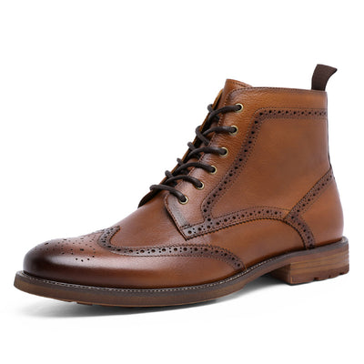 New Men's Brock Carved Business Leather Shoes British Style Dress Boots Leather High-Top Martin Boots