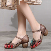 Vintage ethnic flower leather fish mouth high heel sandals