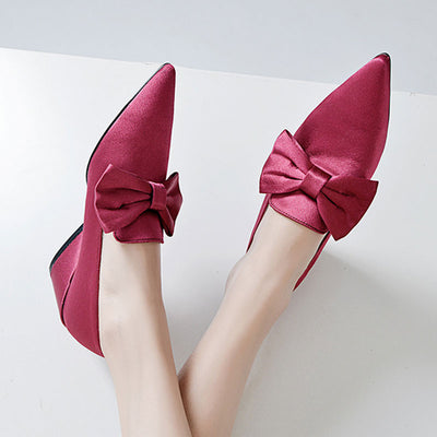Bowknot Solid Color Point Toe Strange Heel Cloth Pumps & Heels