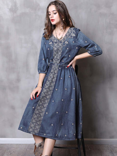 2020 spring new denim embroidery dress