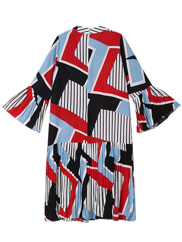 Color Block Geometric Round Neck Flare Sleeve Pleated Patchwork Casual Dresses