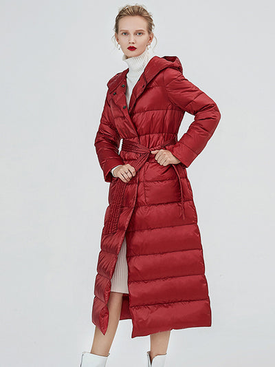 2019 winter new tie with waist slim thick warm over knee hooded long down jacket