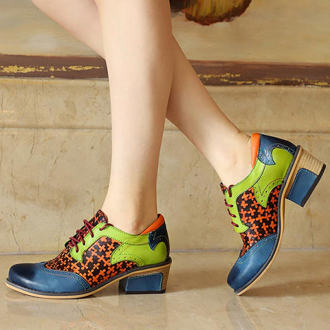 Four-Clover Print Color Block Lace-Up Chunky Heel Leather Pumps & Heels