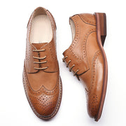 Hollow Vintage Round Toe Chunky Heel Lace-Up Leather Low Upper leather shoes