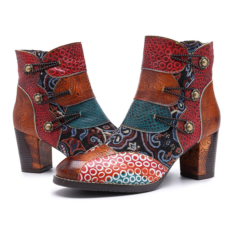 deb6233a2fc Retro Style Leather Color Block Chunky Heel Floral Ankle Boots ...