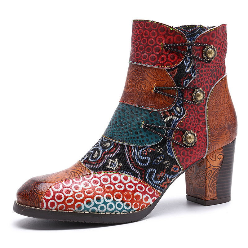 9e4c66eee051 Retro Style Leather Color Block Chunky Heel Floral Ankle Boots ...