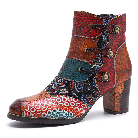 2019 New Vintage Splicing Printed Ankle Boots For Women Shoes Woman Genuine Leather Retro Block High Heels Women Boots