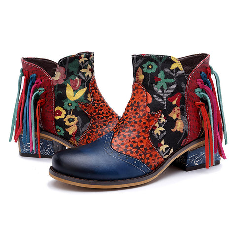Europe and America leather elegant print tassel ladies jacquard women's casual fashion cowboy motorcycle assel boots