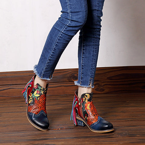 2019 new Europe and America leather elegant print tassel ladies jacquard women's casual fashion cowboy motorcycle assel boots