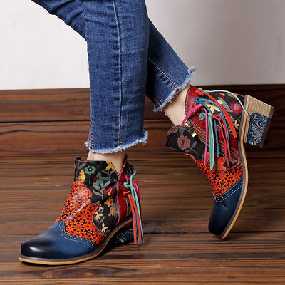 Tassel Chunky Low Heel Floral Ankle Boots