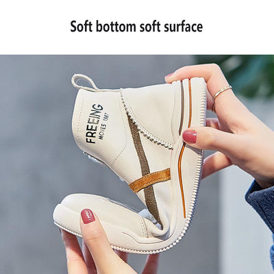 2020 women's new high-top white shoes fashionable all-match flat sneakers.