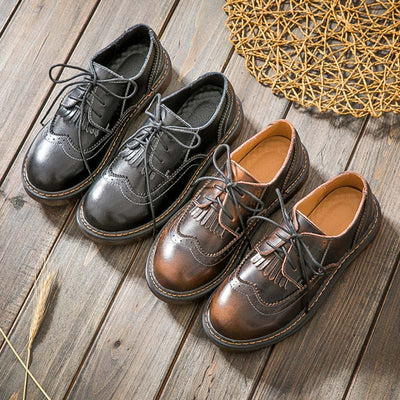 British Leather Tassel Hollow Round Toe Lace-Up Cowheel Loafers