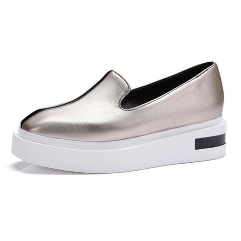 Color Block Square Toe Elevator Heel Slip-On Plus Size Loafers