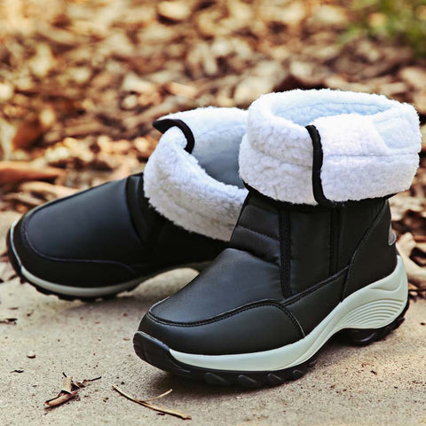 2019 winter new snow boots female waterproof fur-and-leather high-top plus velvet warm cotton shoes women