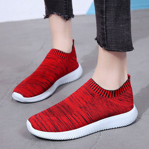 Solid Color Plus Size Breathable Round Toe Flat Heel Sneakers