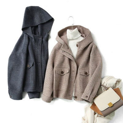 Women's autumn and winter temperament handmade plaid hooded double-side woolen coat