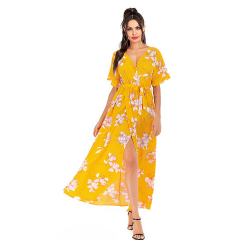 Fashion floral cut-out retro chiffon dress