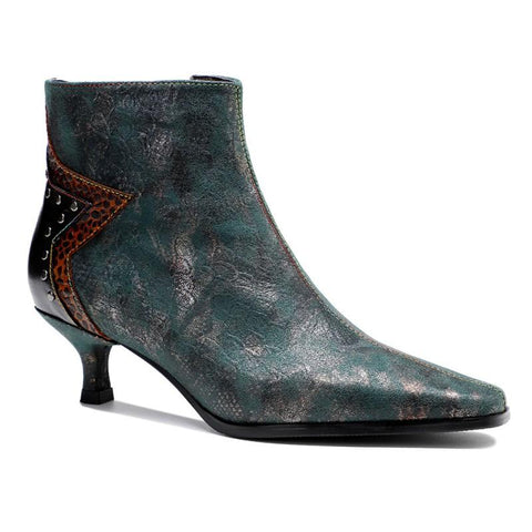 New retro metallic texture dark pattern thumbtack heel design women's fine and low heel ankle boots