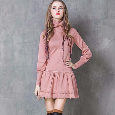 Winter new slim high collar retro ruffled dress