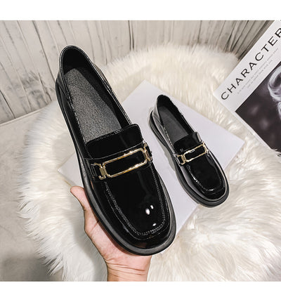 Women's British style all-match black platform leather shoes flat patent leather loafers