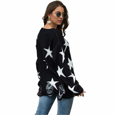 2019 autumn and winter round neck sweater pentagram big round neck sweater