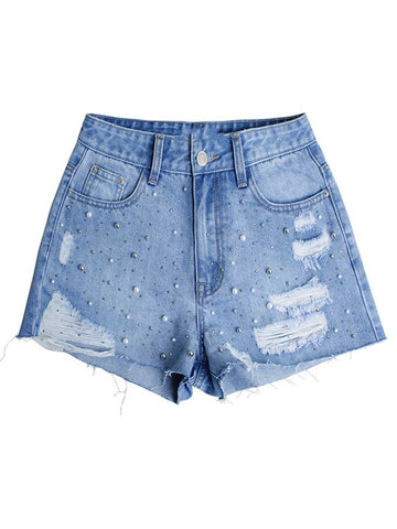 Fashion Beads Hole High-Waist Pocket Tassel Denim Cotton Shorts