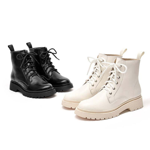New female tide leather plus velvet round head British wind Martin boots