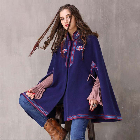 Winter new style national wind embroidery woolen large size coat