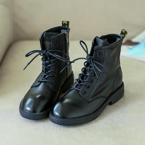 2019 new retro style art soft leather temperament wild fashion rub color Martin boots