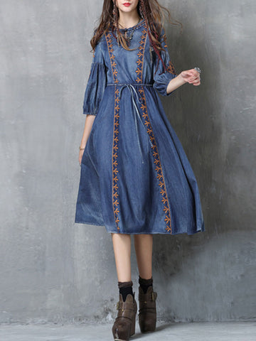 Vintage Embroidery Half Sleeve Round Neck Lace-Up A-Line Denim Dresses