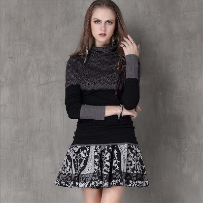 Winter new slim bottoming shirt retro jacquard long-sleeved sweater sweater