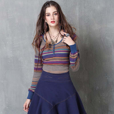 2019 autumn new striped slim retro lantern long-sleeved knit bottoming shirt