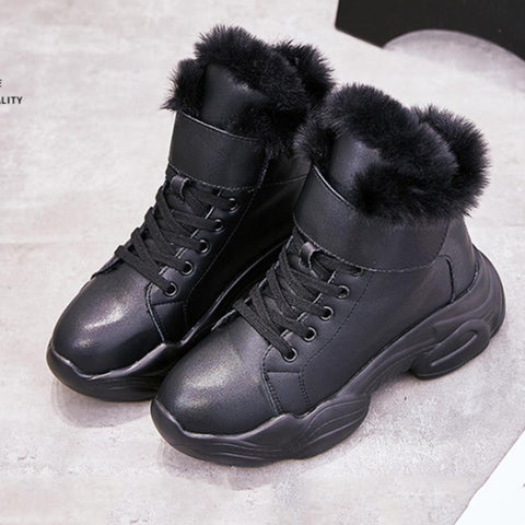 2019 autumn and winter new Korean version plus velvet wild thick bottom sports Martin boots