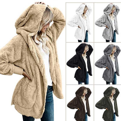 Autumn and winter long-sleeved loose hooded warm cotton jacket long coat on both sides