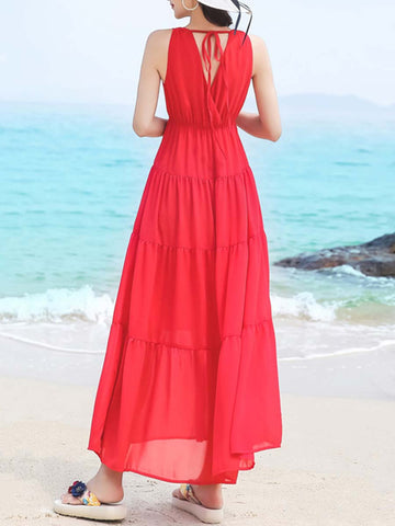 Sexy Backless Patchwork Pleated Lace-Up V-Neck Sleeveless Maxi Dresses