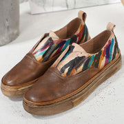 Euro-American DIY Painting Patchwork Slip-On Round Toe Leather Loafers