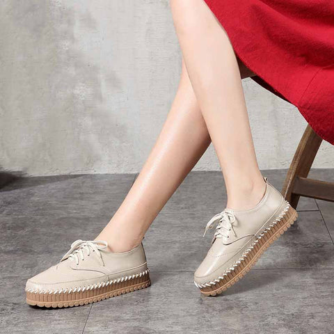 Casual top layer cowhide platform shoes