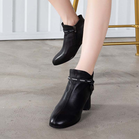 2019 autumn and winter new style new women's boots leather single boots simple fashion leather boots