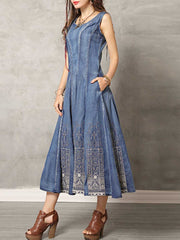 Embroidery Patchwork Round Neck Sleeveless Big Hem Denim Dresses