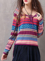 Vintage V-Neck Long Sleeve Stripes Lace-Up Loose Knitwear