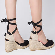 Casual Lace-Up Round Toe High Heel Hand-Made Cross Hollow Sandals