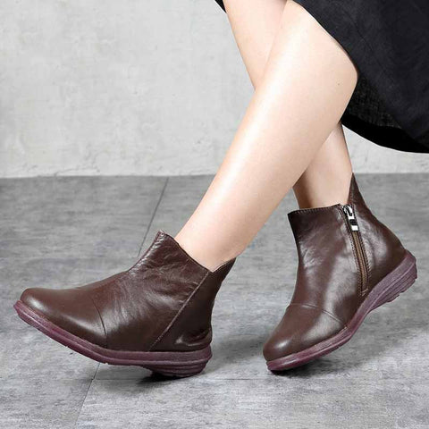 Flat bottom simple soft leather platform women's boots