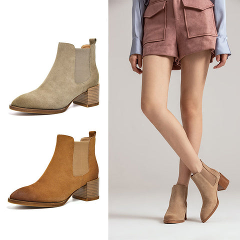 2019 new autumn and winter leather Chelsea boots British style nubuck leather pointed women's short boots