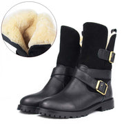 Winter genuine leather with fur in one outdoor belt buckle mid tube snow boots
